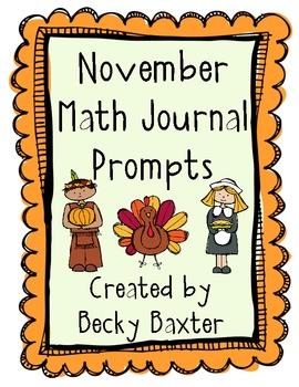 November Math Journal Prompts- Kindergarten CC