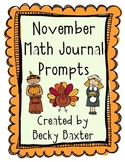 November Math Journal Prompts- Kindergarten CC