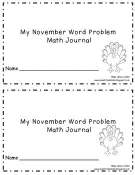 November Math Journal: Word Problems