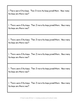 November Math Journal Word Problems for 1st Grade