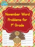 Thanksgiving/November Themed Math Journal Word Problems for 1st Grade