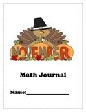 November Math Journals for K and 1st