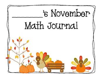 November Math Journals for Primary Grades