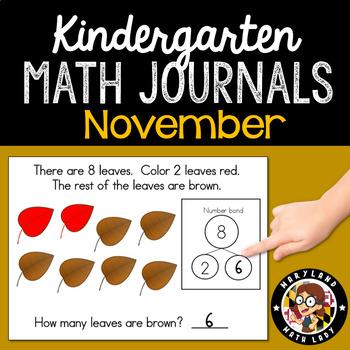 November Math Journals with Number Bonds: Kindergarten