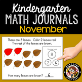 November Math Journals with Number Bonds: Kindergarten
