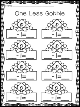November Math Learning Station - One Less One More