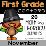 November Math & Literacy Centers - First Grade