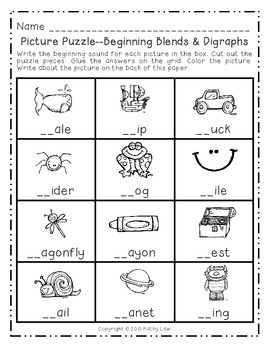 November Math & Literacy Picture Puzzles