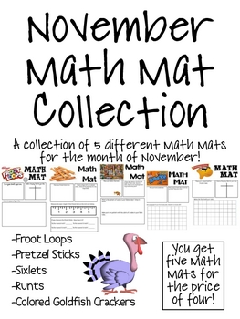 November Math Mat Collection:  ASSORTED FIVE PACK