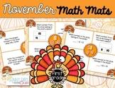 November Math Mats {first grade}