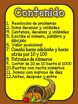 November Math Practice in Spanish for SECOND GRADE