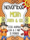 November Math {Print & Go} 1st Grade