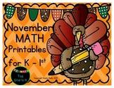 November Math Printables for Kinder & First
