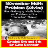 November Math Problem Solving Projects for Upper Elementary Students