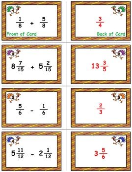 """Thanksgiving Math Skills & Learning Center (Add & Subtract """"Like"""" Fractions)"""