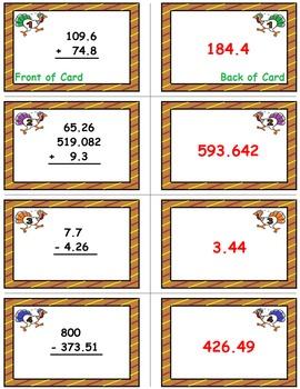 Thanksgiving Math Skills & Learning Center (Add & Subtract Decimals)