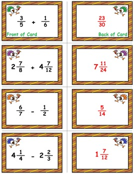 """Thanksgiving Math Skills & Learning Center (Add & Subtract """"Unlike"""" Fractions)"""