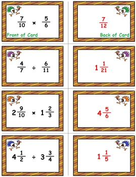 Thanksgiving Math Skills & Learning Center (Multiply & Divide Fractions)