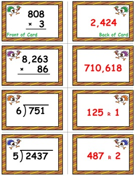 Thanksgiving Math Skills & Learning Center (Multiply & Divide Whole Numbers)