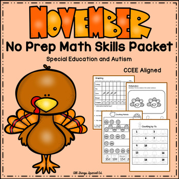 November Math Skills Packet- Special Education and Autism