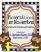 November Math:  Solving Story Problems & Matemáticas En Noviembre BUNDLE