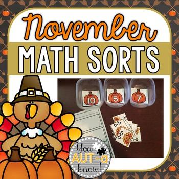 November Math Sorts - CCSS Aligned for Grades K-2