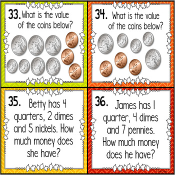 November Math Spiral Review Task Cards