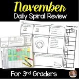 November Math Spiral Review: Daily Math for 3rd Grade (Print and Go)