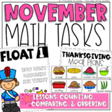 November Math Tasks for Counting, Comparing, and Ordering