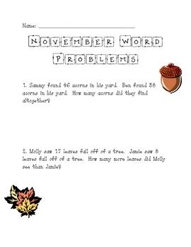 November Math Word Problems