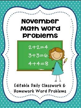 November Math Word Problems- Editable