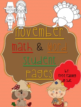 November Math & Word student workpages