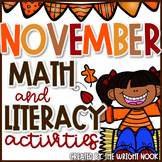 Math and Literacy Activities Bundle for November