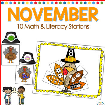 November Math and Literacy Centers for Kindergarten