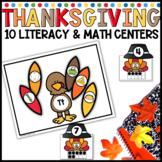 November Math and Literacy Thanksgiving Centers for Kindergarten