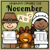 November Math and Literacy Centers for Kindergarten and Pre-K