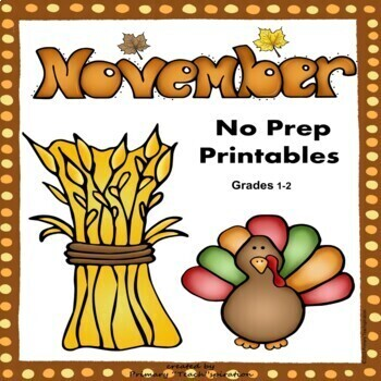 November Math and Literacy NO PREP Fall Printables for Common Core Skills