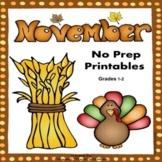 Math and Literacy 1st & 2nd Grade Printables - November