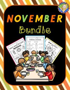 November/Thanksgiving Math, Literacy, and Games Bundle