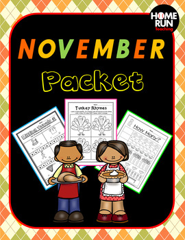 November Math and Literacy Packet, Thanksgiving Craft, Thanksgiving Packet