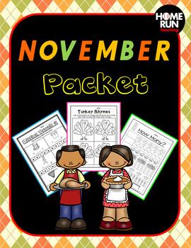 November Math and Literacy Packet, Thanksgiving Craft, Tha