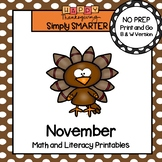 November Math and Literacy Printables and Activities For First Grade