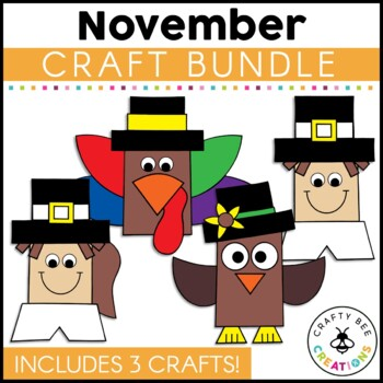 November Mini Craft Set {Pilgrim, Indian, & Turkey}