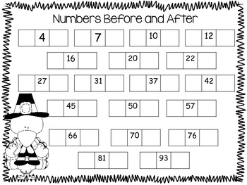 November Missing Numbers Math Pack