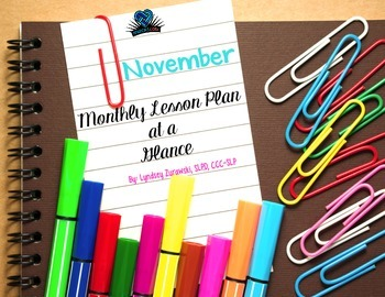 November Month At A Glance Lesson Plan