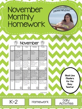 November Monthly Homework