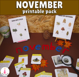 November Monthly Printable Packet Montessori