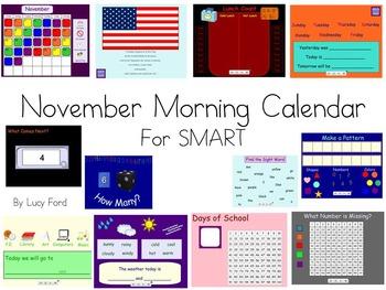 November Morning Calendar SMART