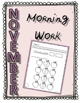 November Morning/Calendar Work for the Entire Month