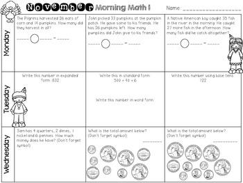 November Morning Math Work